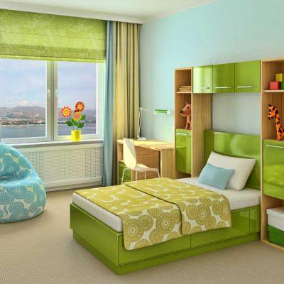 Римские шторы в зеленую детскую комнату