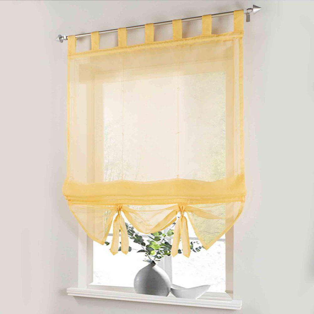 Персиковые шторы в римском стиле