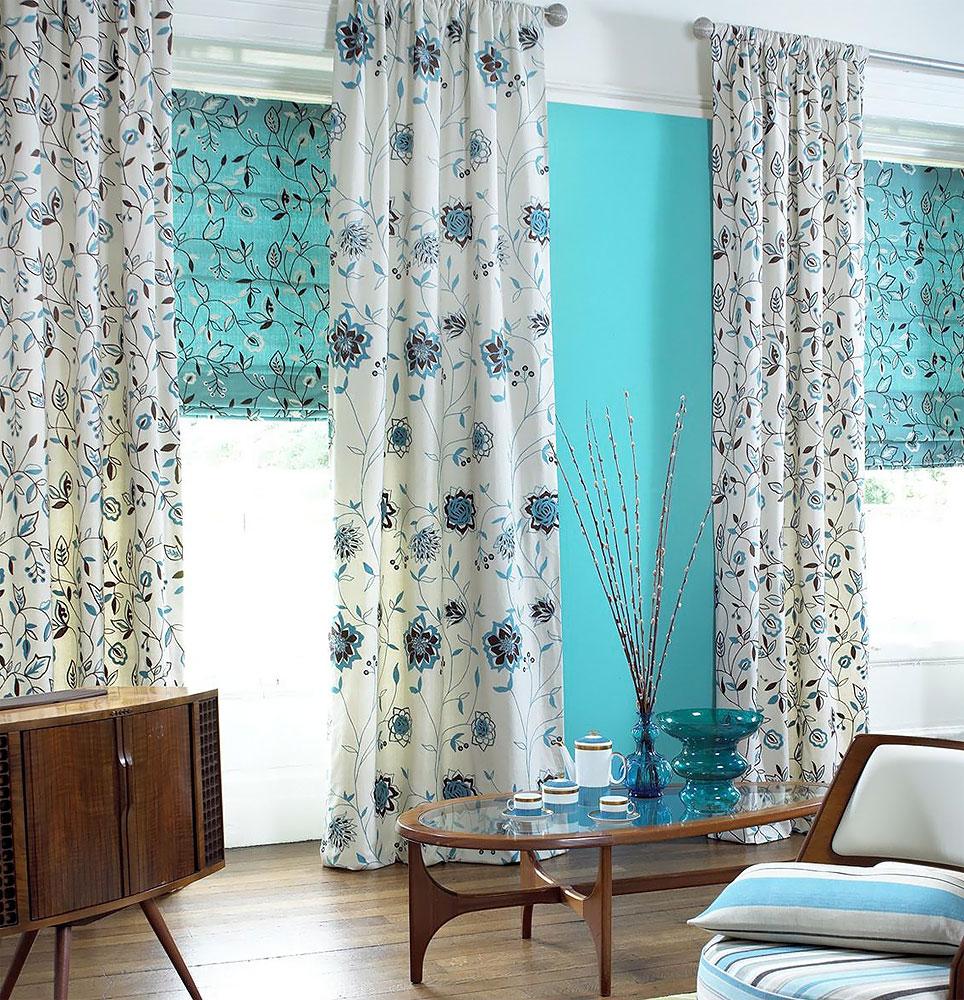 Красивый бирюзовый цвет римских штор