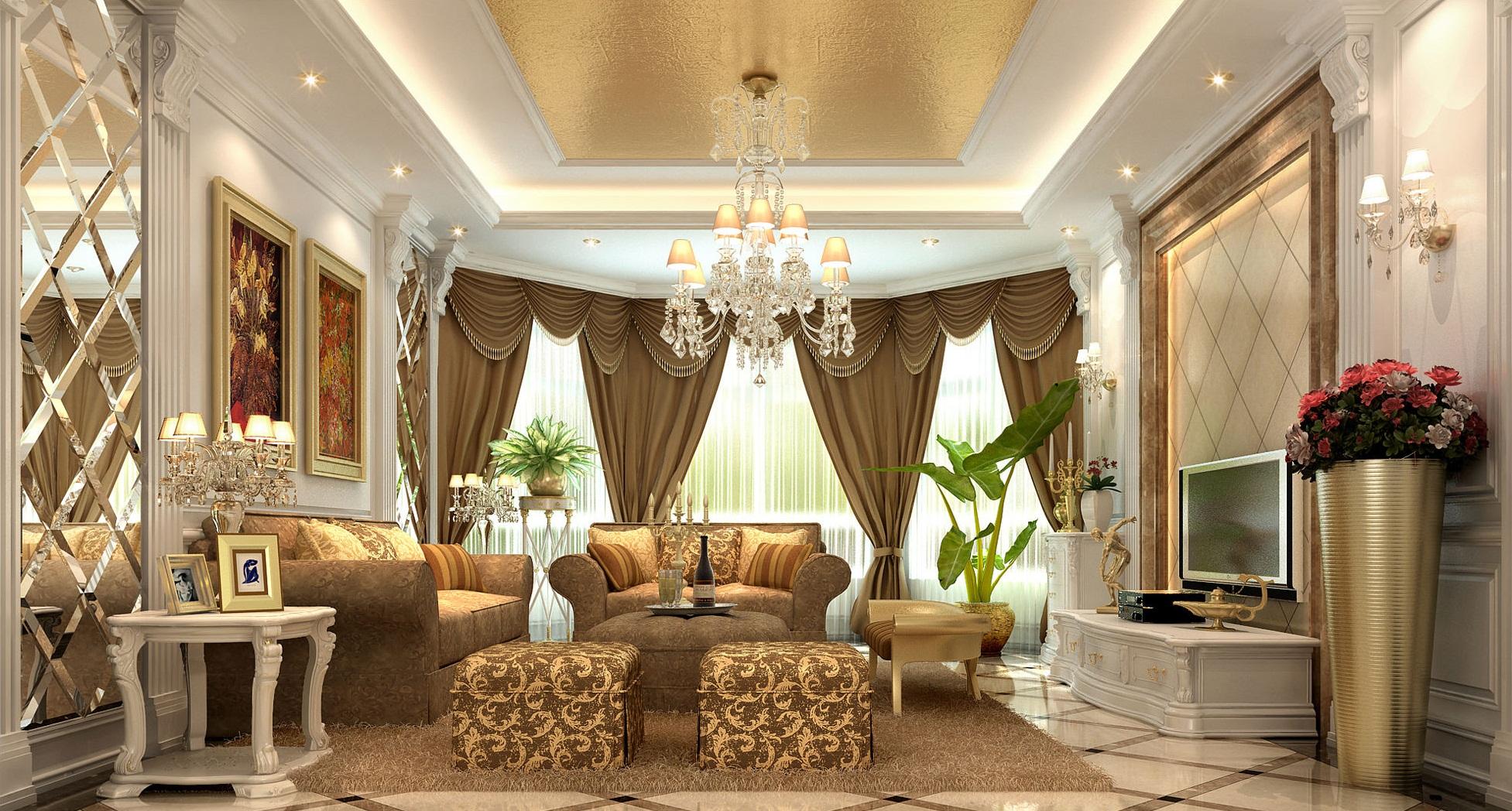 Плюс штор для гостиной в классическом стиле в том, что они вегда выглядят модно и актуально
