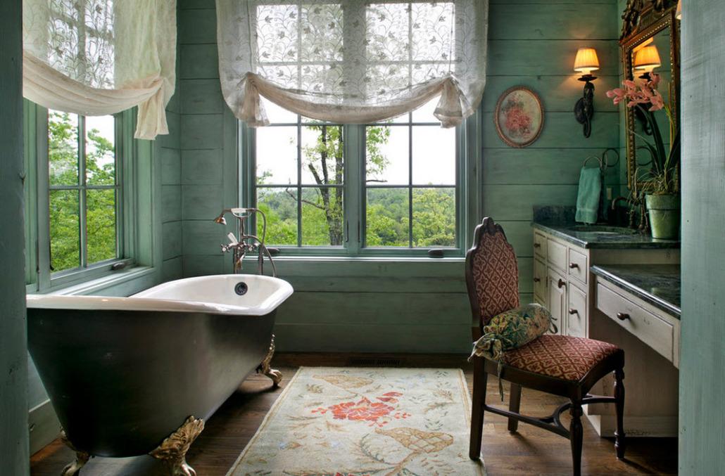 Использование деревянных панелей в стиле прованс в ванной