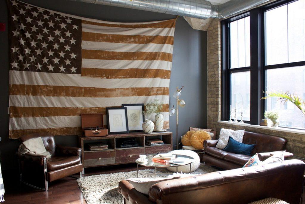 В американском стиле можно увидеть черты лофта, английского, французского и других стилей