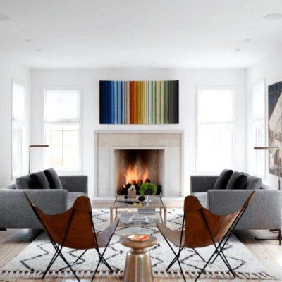 гостиная в стиле модерн с камином