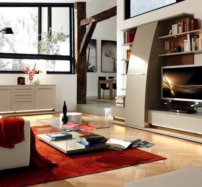гостиная в стиле модерн с яркими акцентами