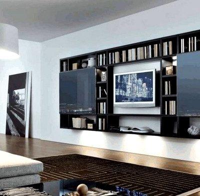 интерьер гостиной в черно-коричнвых тонах