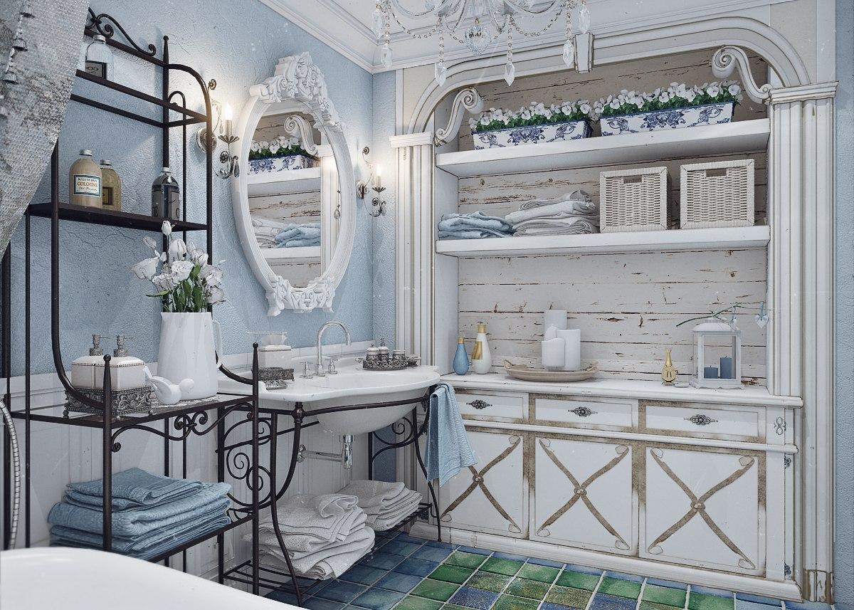 Деревянная и кованная мебель в ванной в стиле прованс