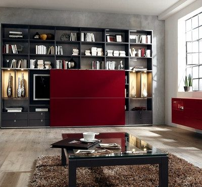 красная мебель в интерьере гостиной