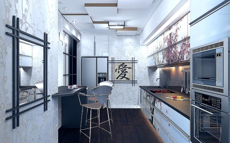 Необычный кухонный дизайн в азиатском стиле
