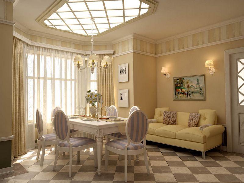 Обои под покраску - один из вариантов оформления стен в гостиной прованс