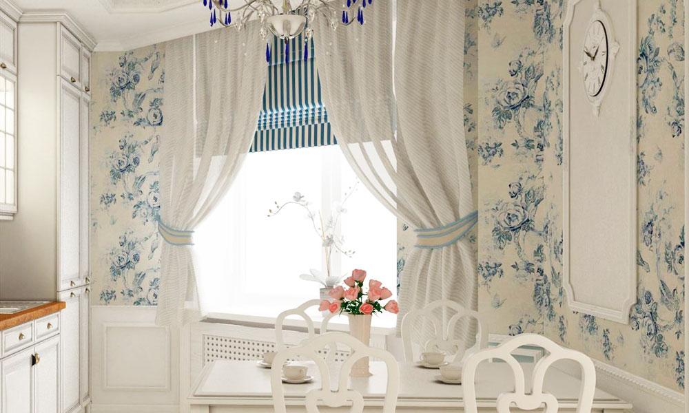 Современно и красиво выглядят римские шторы с легкими гардинами