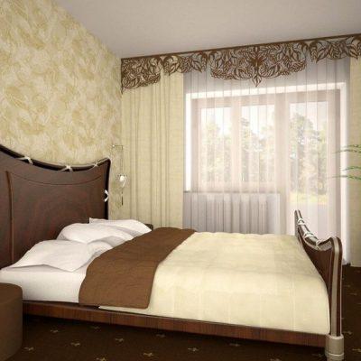 Шторы с ламбрекеном в спальне