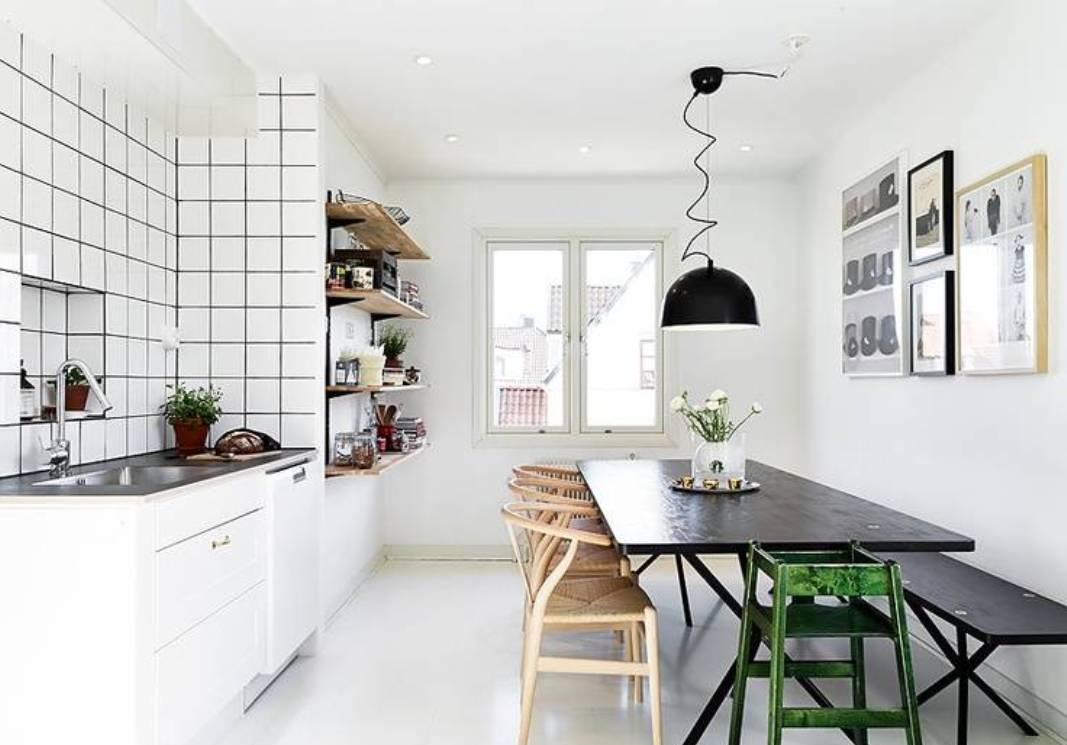 Пол на кухне в скандинавском стиле должен быть светлых тонов