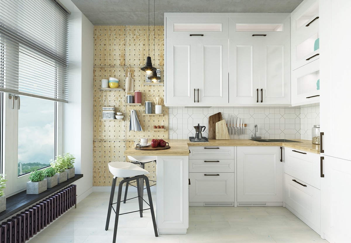 Скандинавская кухня углового типа с барной стойкой