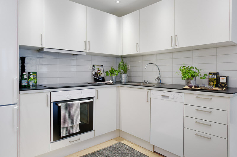 Г-образная кухня в скандинавском стиле