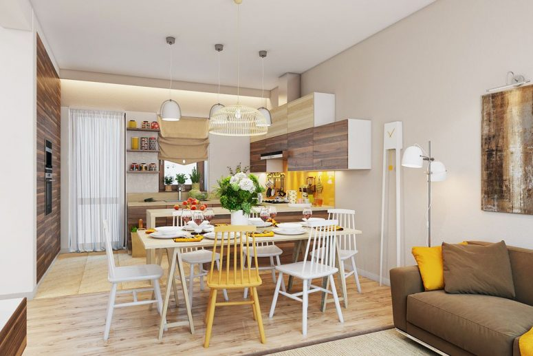 В интерьере скандинавской кухни можно увидеть дерево как в отделке, так и в мебели