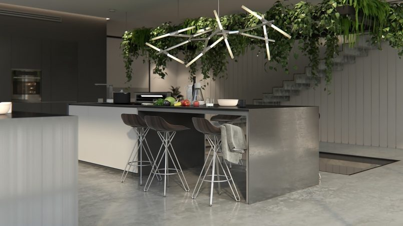 Уникальная авторская люстра - смелое и интересное решение для современной минималистичной кухни