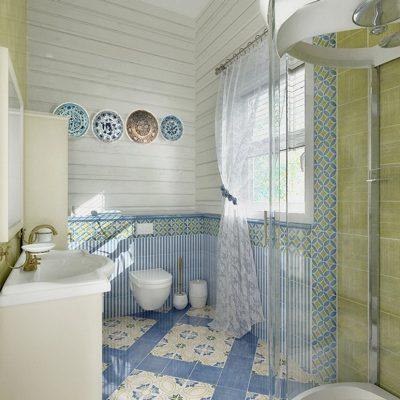 Фарфоровые тарелки в ванной в стиле прованс