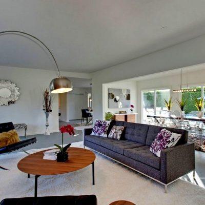 вариант дизайна гостиной в стиле модерн