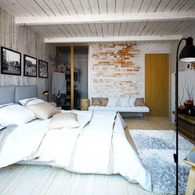Белая спальня шале