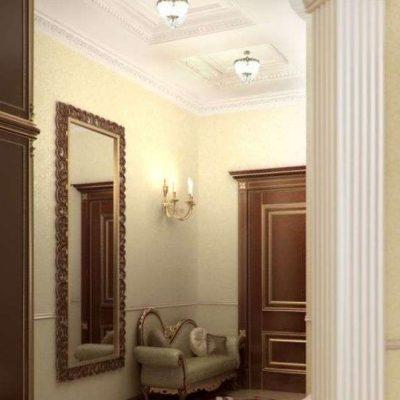 Вариант оформления прихожей в классическом стиле небольшой площади