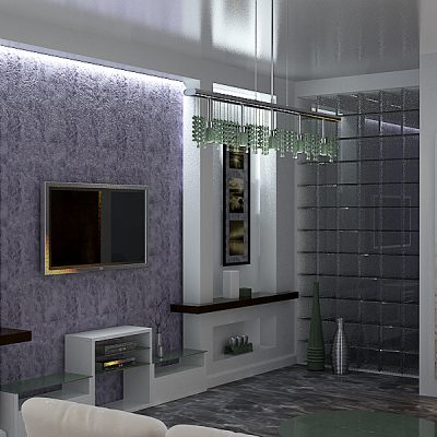 Освещение гостиной комнаты хай тек