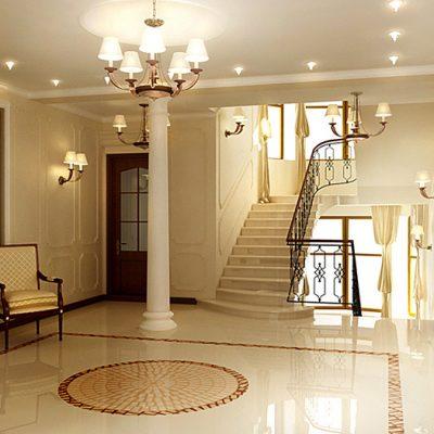 Кремовый интерьер прихожей с лестницей
