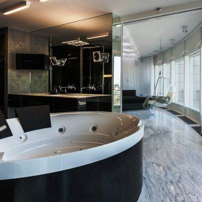 Угловая ванная минимализм стиля