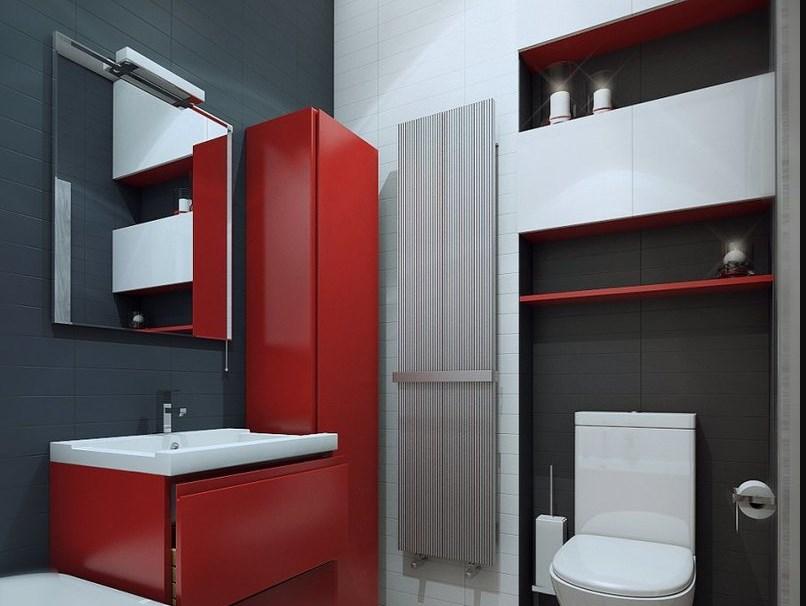 Красно черные цвета в ванной