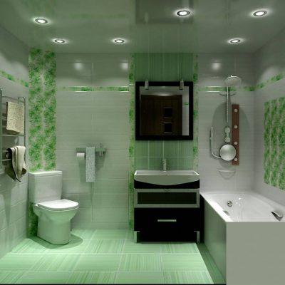 Зеленая расцветка ванной
