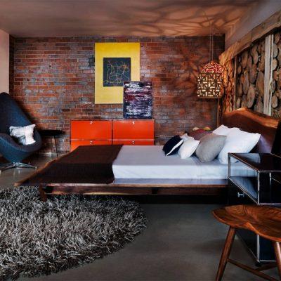 Лофт стиль спальной комнаты на фото