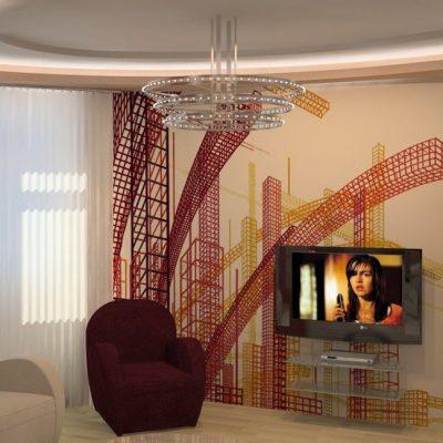 Пример обустройства гостиной комнаты интерьера хай тек