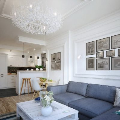 Вариант люстры в гостиную современного стиля на фото