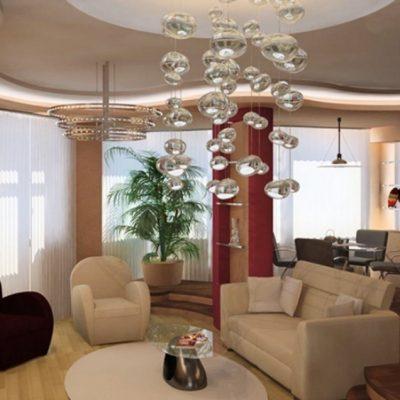 Вариант люстры в гостиную современного стиля на фото примере