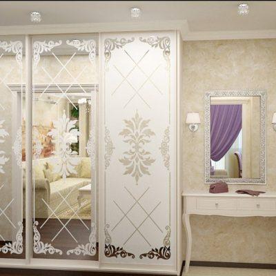 Белая классика шкафа для прихожей комнаты