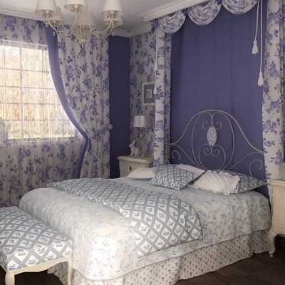 фиолетовая прованс спальня