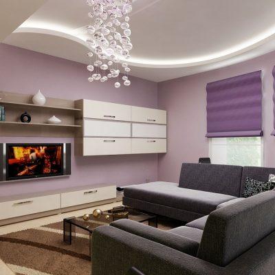 Вариант люстры в гостиную современного стиля на фото примере интерьера современного типа