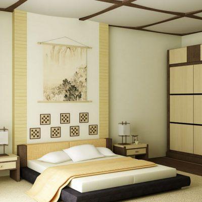 Фотообои в спальне японского стиля