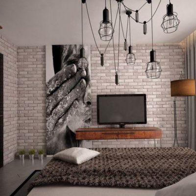 Оформление спальни дизайнером лофт стиле