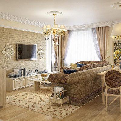 Мебель в гостиной в духе классики современного стиля в интерьере
