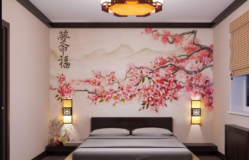 Японский мотив спальной комнаты