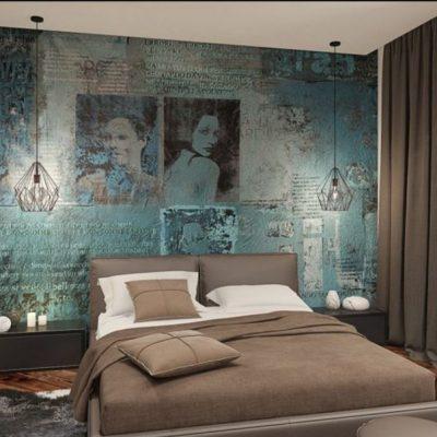 Просторная спальная комната с картиной на фото образце