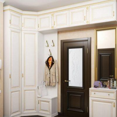 Модульный шкаф белого цвета в прихожую