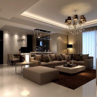 Люстра над диваном