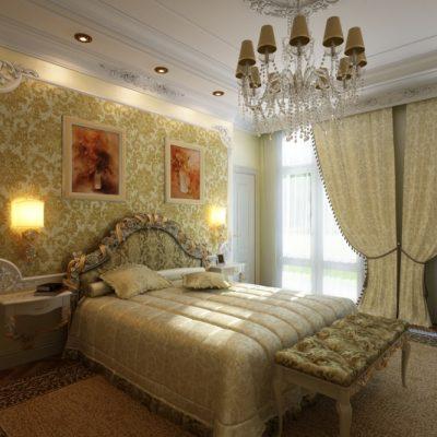 Желтые тона спальни американского стиля