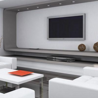 Интерьер гостиной с телевизором