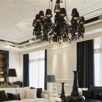 Светильники в интерьере гостиной современности в интерьере на фото