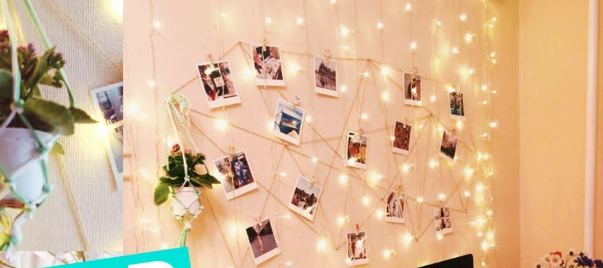 Декорация стен картинами и фото в комнате подростка
