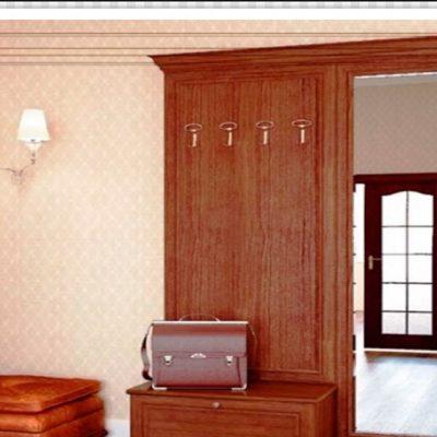 Коричневый шкаф из дерева модульного типа в прихожей