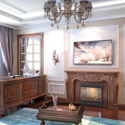Картина и шторы в кабинете
