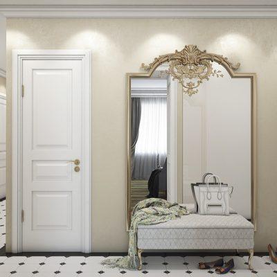 Модульный шкаф белого цвета в прихожую в классическом стиле на фото